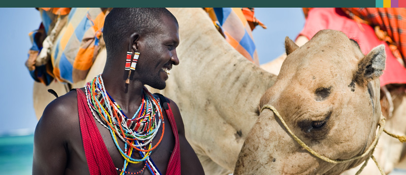 Maassai tribesman with camel